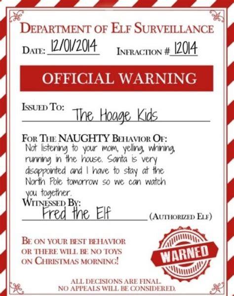elf on the shelf naughty warning free printable an elf warning for naughty kids make your elf on the