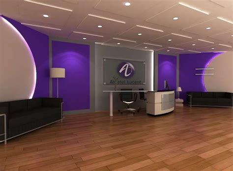 purple office decor lobby receptionist office interior design in purple