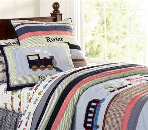 train bedding ryder train quilted bedding pottery barn kids