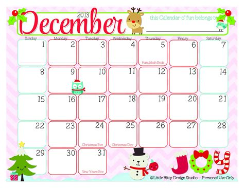 Printable Decorated December 2014 Calendar | december decorated calenders december 2014 calendar