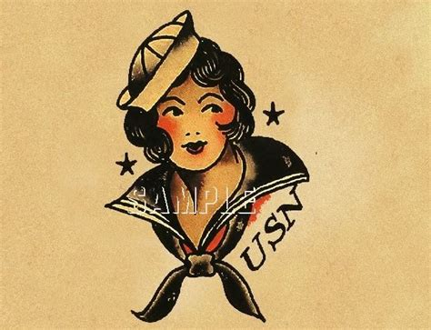 tattoo flash prints for sale vintage navy sailor pin up girl tattoo flash old school