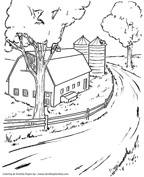 farm life scene coloring pages printable farm barn and