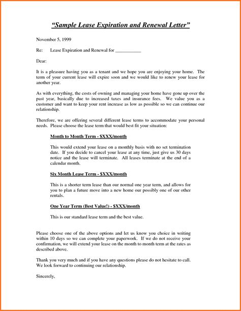 Nonrenewal Of Lease Letter Template not renewing lease letter artresume sle