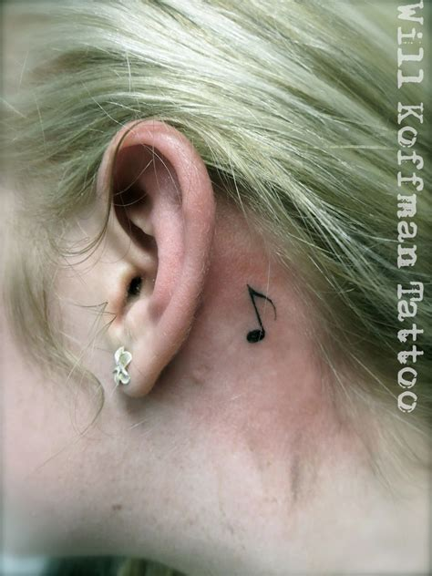 music note tattoo behind ear will koffman note