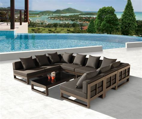 "Amber Modern Outdoor ""U"" Shape Large Sectional Sofa for 8"