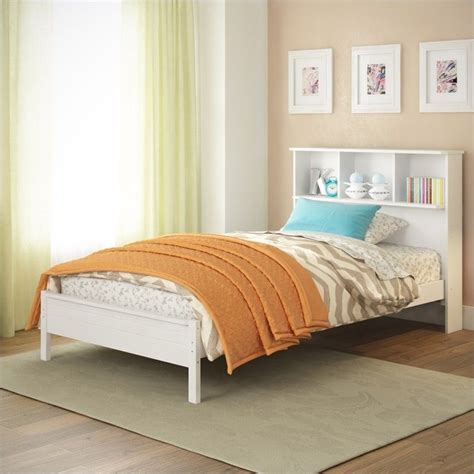 single white headboard twin single bed with bookcase headboard in white baf 510 s