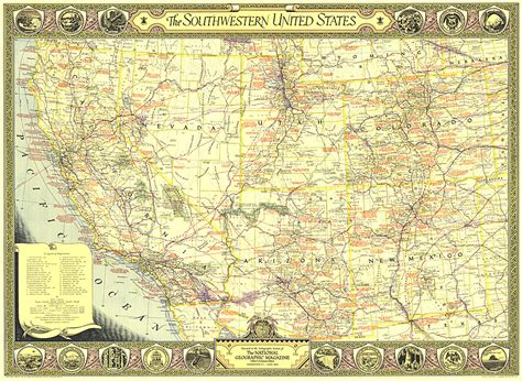 map of southwestern usa southwestern united states map usa regions map archive