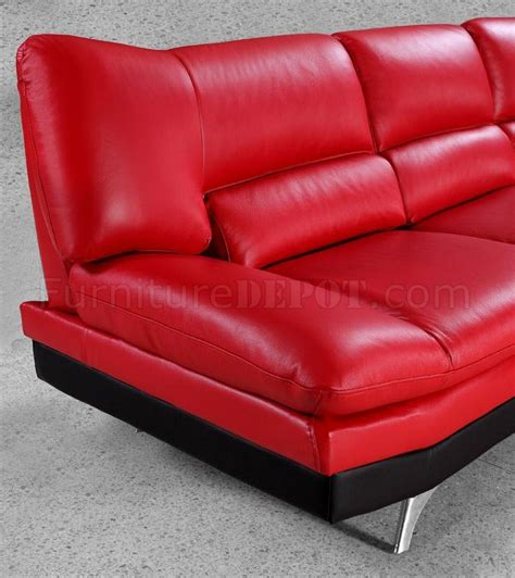 red leather modern sofa red leather modern sectional sofa w black base