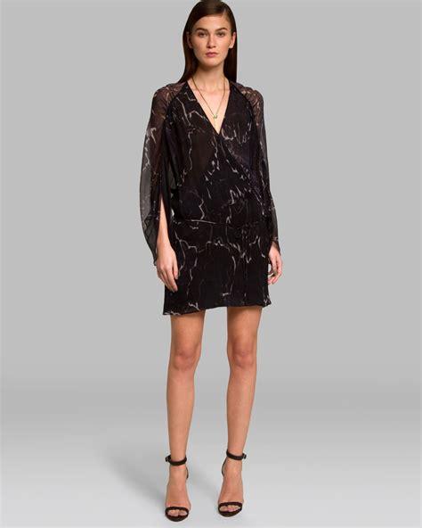 Tendencies Dress Deyhan Sheer Sleeves lyst dress sheer sleeve wrap front in black