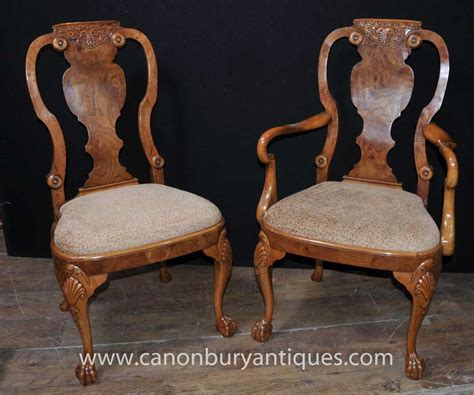 queen armchair set 8 walnut queen anne dining chairs armchair set