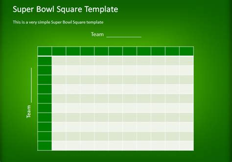 how to make a simple football squares template using
