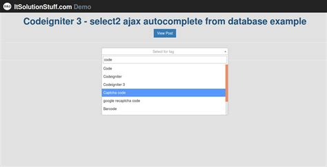codeigniter demo project codeigniter 3 select2 ajax autocomplete from database