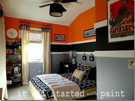 boy bedroom in orange gray black