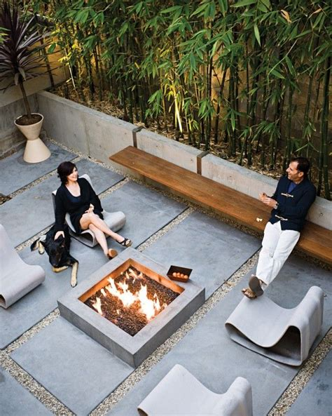modern outdoor clean lined patios gardens fire pits