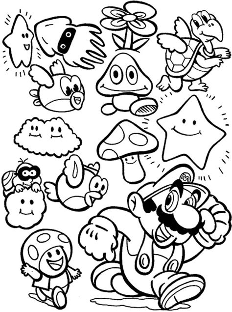 super mario brothers all characters coloring page super