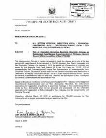 Endorsement Letter Nso Psa Formerly Nso Recognizes Rev Calusay As Pgcag Philippines General Council Of The