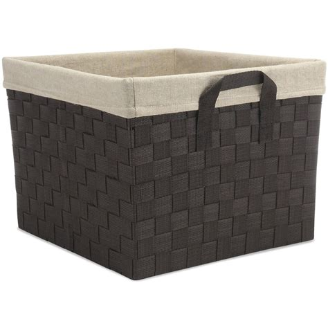 woven storage basket in shelf bins