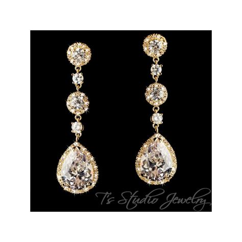 Gold Cubic Zirconia Chandelier Pear Shaped Bridal Earrings Gold Bridal Earrings Chandelier