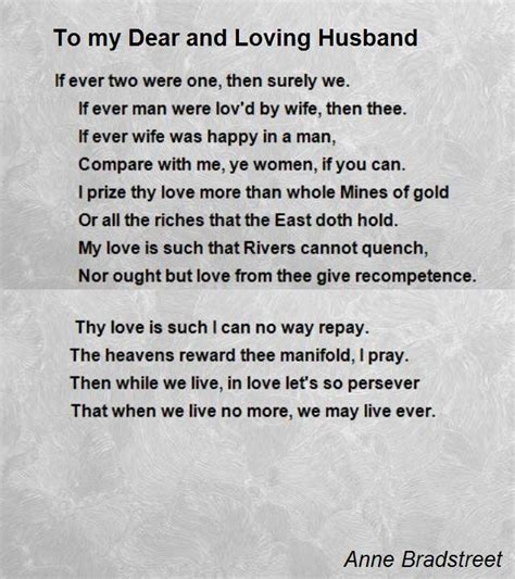 a poem for my husband to my dear and loving husband poem by bradstreet