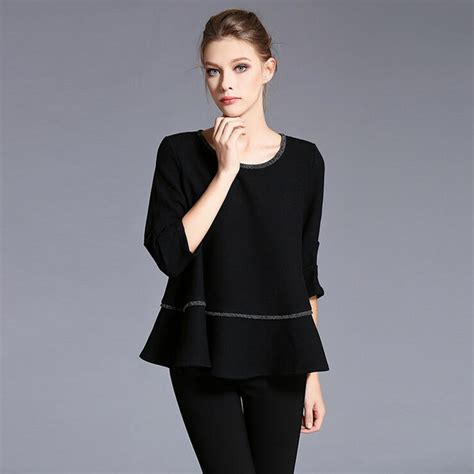 Blouse Katun Bigsize 3 aliexpress buy big size s shirt 2016 autumn fashion 3 4 sleeve o neck