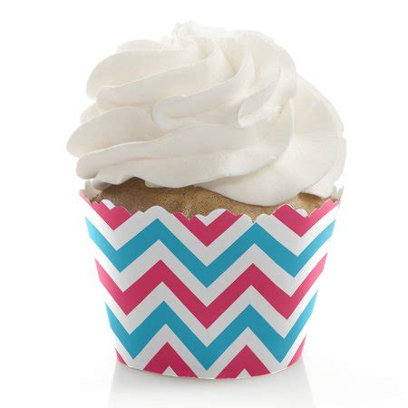Walmart Baby Shower Cupcakes by Chevron Gender Reveal Baby Shower Cupcake Wrappers Set