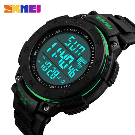 membuat jam tangan digital skmei jam tangan digital pria dg1237 black green