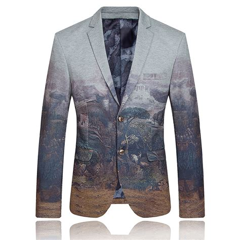 Blazer Uniqee unique mens painting dress suit blazer masculino for