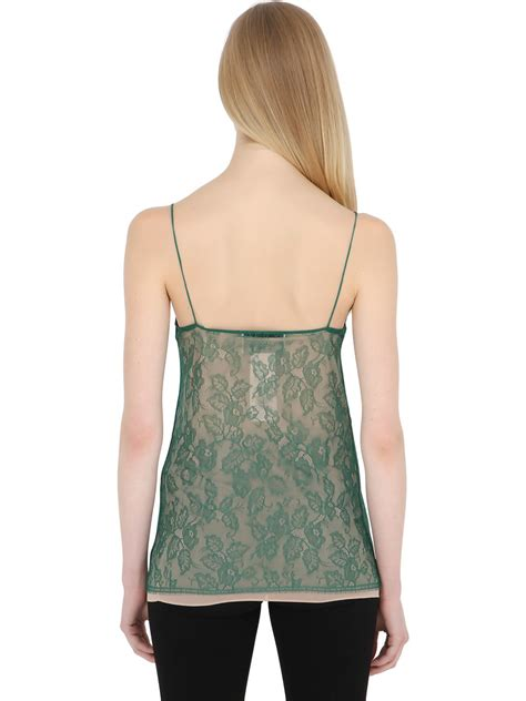 lyst gucci embroidered snake chantilly lace top in green