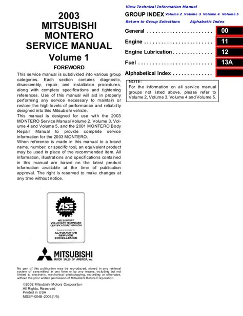 repair manuals mitsubishi montero 2003 repair manual 2003 mitsubishi montero service repair manual
