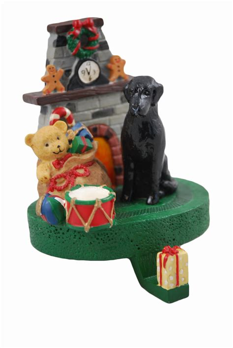 black labrador dog christmas mantle stocking hanger holder