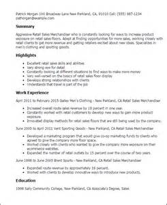 Resume Sles For Retail Merchandiser Professional Retail Sales Merchandiser Templates To Showcase Your Talent Myperfectresume