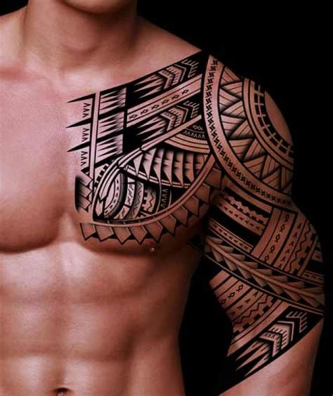half chest tattoos for men 32 amazing tribal sleeve tattoos