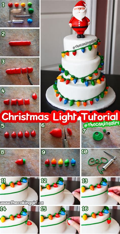 thecakinggirl fondant christmas light cake tutorial
