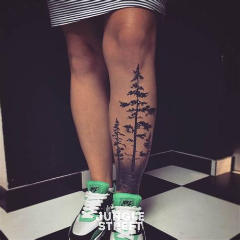 tree leg tattoo forest on leg creativefan