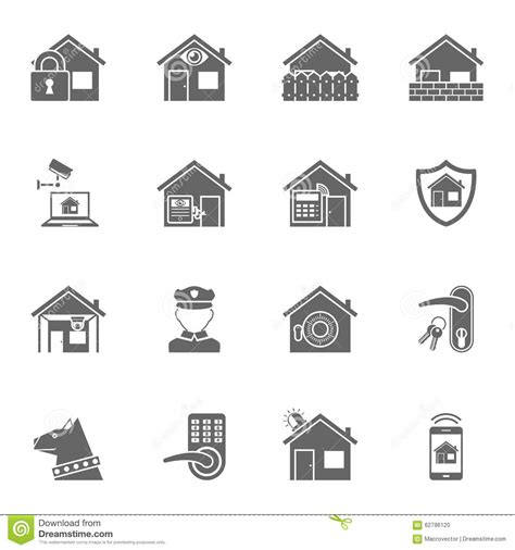 smart home security system black icons set stock vector