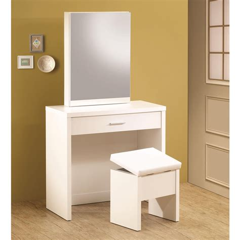 White Vanity Table Glossy White Vanity Makeup Table Set W Mirror Storage Lift Top Stool Ebay