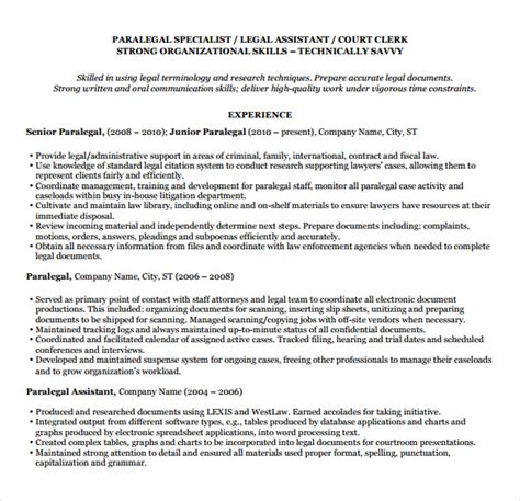 Paralegal Resume Template by 12 Paralegal Resume Templates To Sle Templates