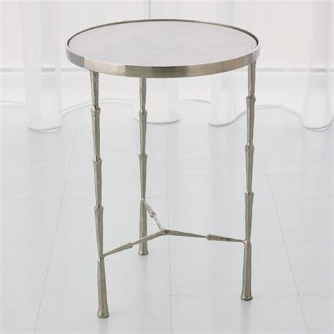 global views 7 90373 spike accent table with white marble global views studio a spike nickel with white marble