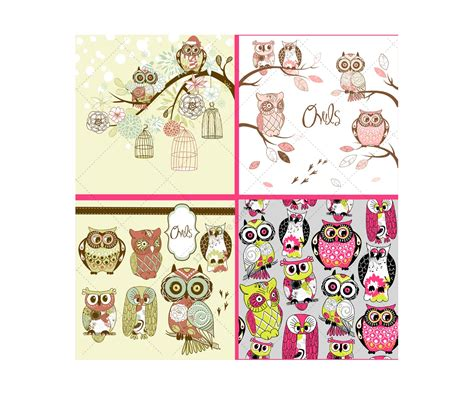 greeting card template with cute owl vector free download cute owls vectors pack cartoon owl vectors greeting