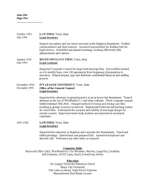 resume page 2 boston