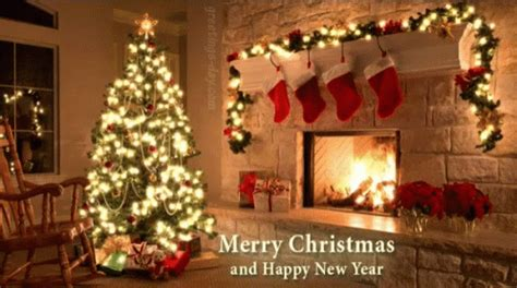 merry christmas happy  year gif merrychristmas happynewyear fireplace discover share gifs