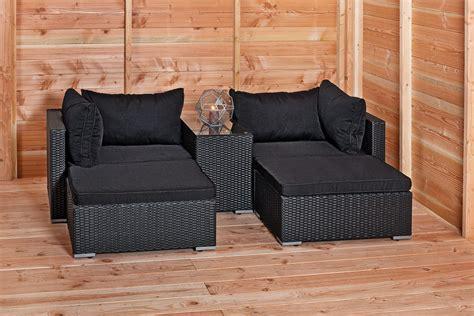 loungeset zwart tuinmeubelen wicker zwart msnoel