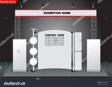 Exhibition Stand Design Template blank trade exhibition stand and roll up banner vector