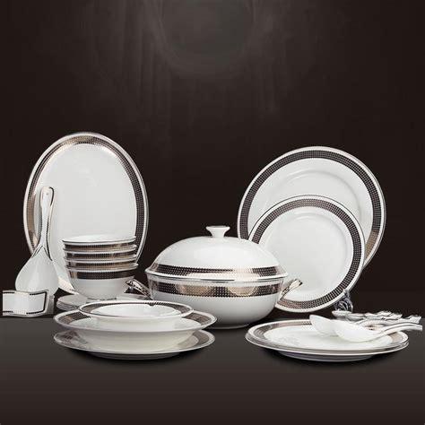dinnerware sets 28 head european luxury white gold inlay porcelain platinum dots bone china