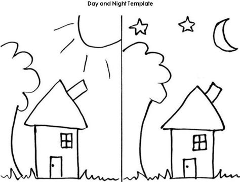 day and night coloring page for kindergarten day and night worksheet template projects to try