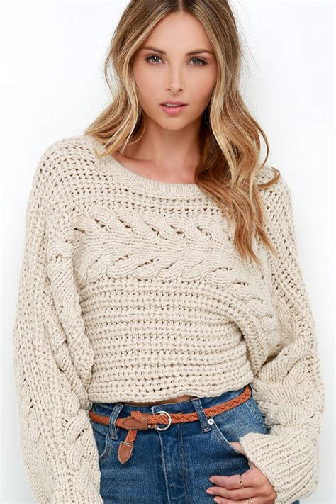 Sweeter Crop beige sweater cable knit sweater cropped sweater 109 00