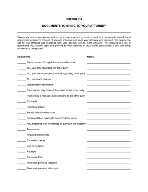 Checklist Documents To Bring To Your Attorney Template Sle Form Biztree Com Litigation Checklist Template