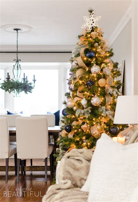 navy and gold christmas tree a burst of beautiful