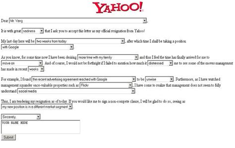 Resignation Letter Generator by A Yahoo Resignation Letter Generator Hold On To Your Bone Search Social News