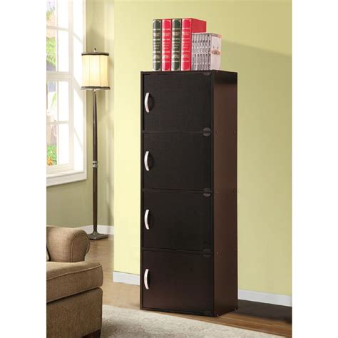 4 shelf bookcase with doors hodedah 4 shelf 47 in h black bookcase with doors hid4